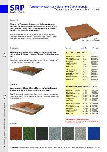 SRP Terrassenplatten aus coloriertem Gummigranulat Terrace slabs ...