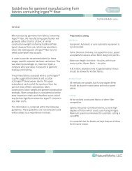 Guidelines for garment manufacturing from fabrics containing Ingeo ...