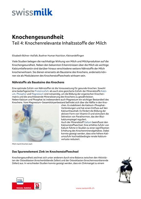Knochenrelevante Inhaltsstoffe der Milch - Swissmilk