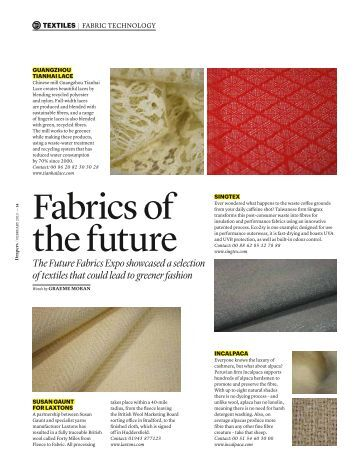 Drapers Textile Report: Fabrics of the Future - The Sustainable Angle