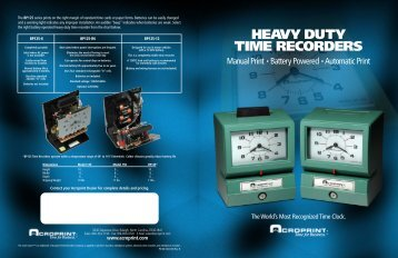 HEAVY DUTY TIME RECORDERS - Time Clocks