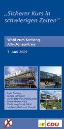 Flyer zur Kreistagswahl in Laichingen - CDU Kreisverband Alb ...