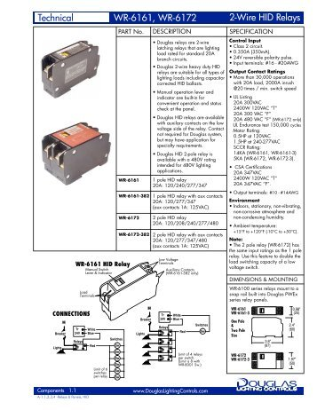 2 wire relay ko mount wr 6221k 82 technical data noncondensing hid relay douglas lighting control asfbconference2016 Image collections