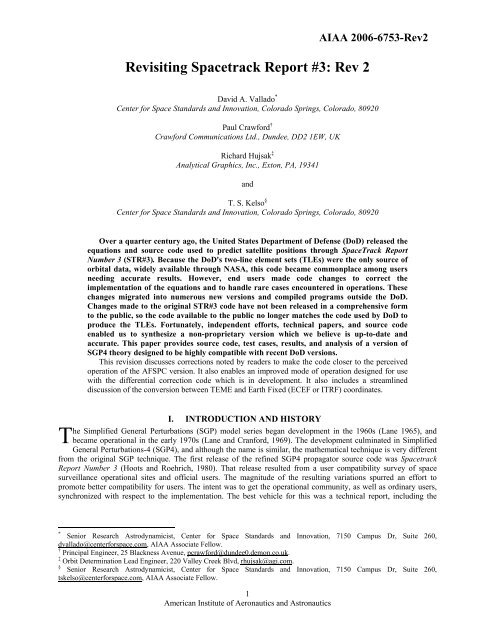 Revisiting Spacetrack Report #3: Rev 2 - CelesTrak