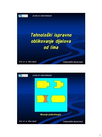 Tehnološki ispravno oblikovanje dijelova od lima - FSB