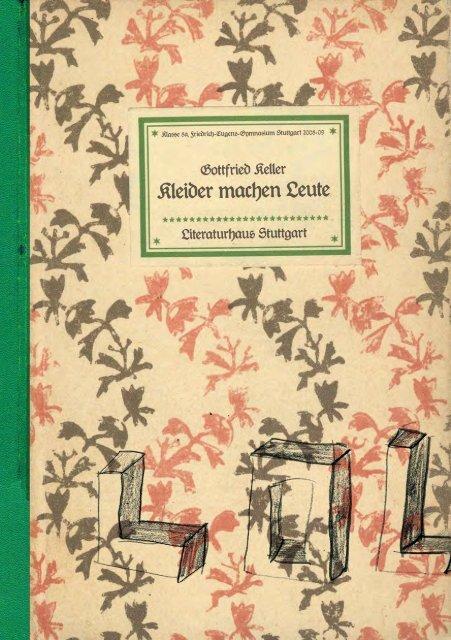Gottfried Keller Kleider Machen Leute Literaturmachen De