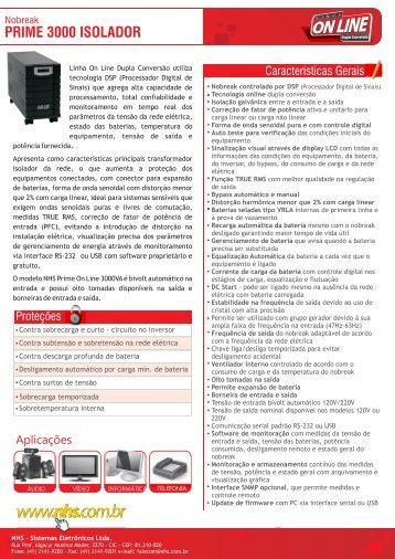 Catalogo eletronico On Line Prime 3000 Isolador ... - NHS
