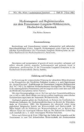 Hydromagnesit und Begleitmineralien aus dem Frauenmauer ...