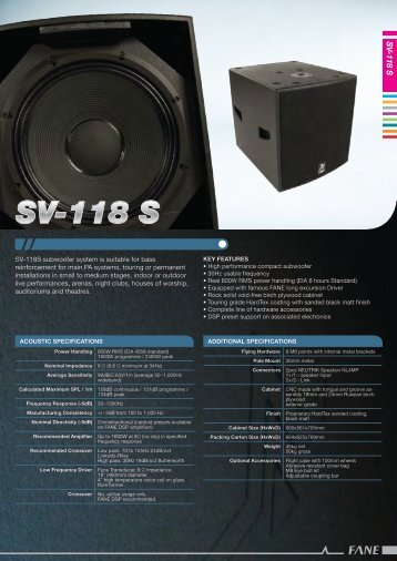 SV -118 S - Nightingale Audio Systems