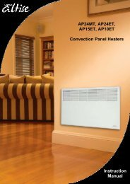 AP24MT, AP24ET, AP15ET, AP10ET Convection Panel Heaters ...