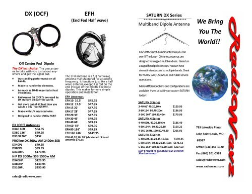 We Bring You The World!! SATURN DX Series - Radiowavz