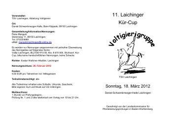 11. Laichinger Kür-Cup - Pferdesportkreis Alb-Donau