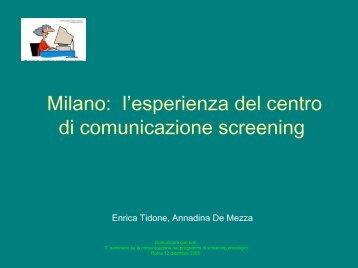 l'esperienza del centro di comunicazione screening - EpiCentro