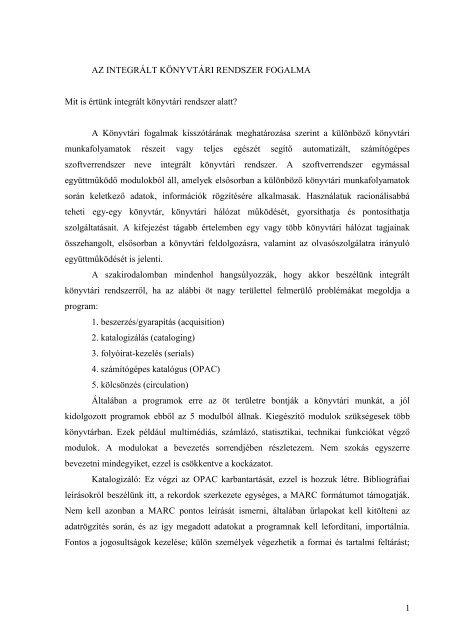 1 AZ INTEGRÁLT KÖNYVTÁRI RENDSZER ... - szaszpeter.hu