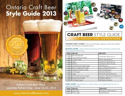 Ontario Craft Beer Style Guide 2013