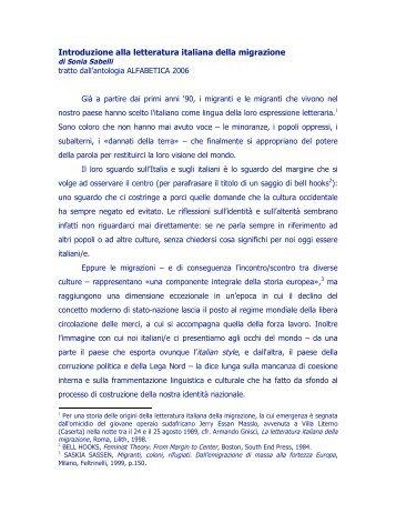 Introduzione alla letteratura italiana della migrazione - Casa delle ...