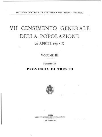 VII CENSIMENTO GENERALE DELLA POPOLAZIONE - Istat