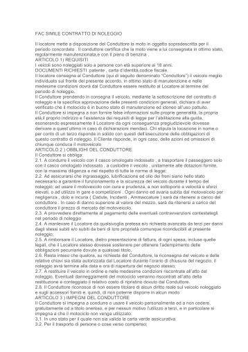 Leggi contratto di noleggio for Contratto affitto appartamento arredato fac simile