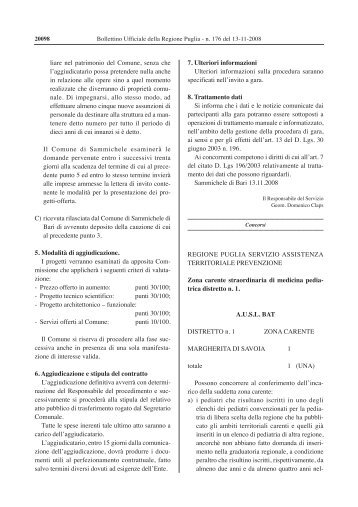 zona carente AUSL BAT distretto n.1 - Regione Puglia