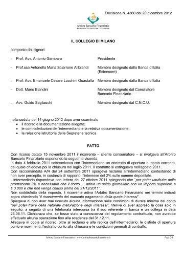 Decisione N. 4360 del 20 dicembre 2012 - Arbitro Bancario ...