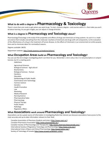 Pharmacology & Toxicology - Career Services