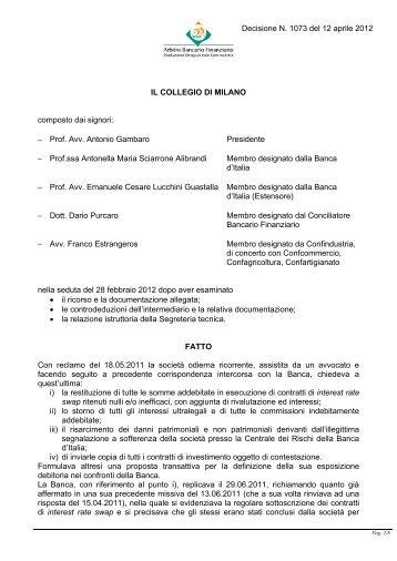 Decisione N. 1073 del 12 aprile 2012 - Arbitro Bancario Finanziario