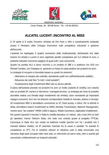 ALCATEL LUCENT: INCONTRO AL MISE - Uilm