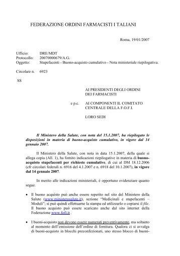 FEDERAZIONE ORDINI FARMACISTI I TALIANI - Ordine dei ...