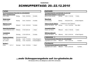 Schnuppertage 20.-22.12.2010 - TSV Ginnheim