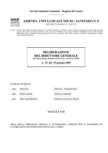 sanitaria n. 8 deliberazione del direttore generale - Azienda ULSS 8
