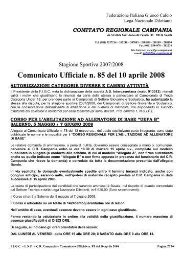 Comunicato Ufficiale n. 85 del 10 aprile 2008 - Informacalcio.it