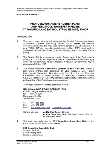 proposed butadiene rubber plant and feedstock transfer pipeline at ...
