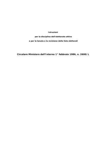 Circolare Ministero dell'Interno 1° febbraio 1986, n. 2600/L