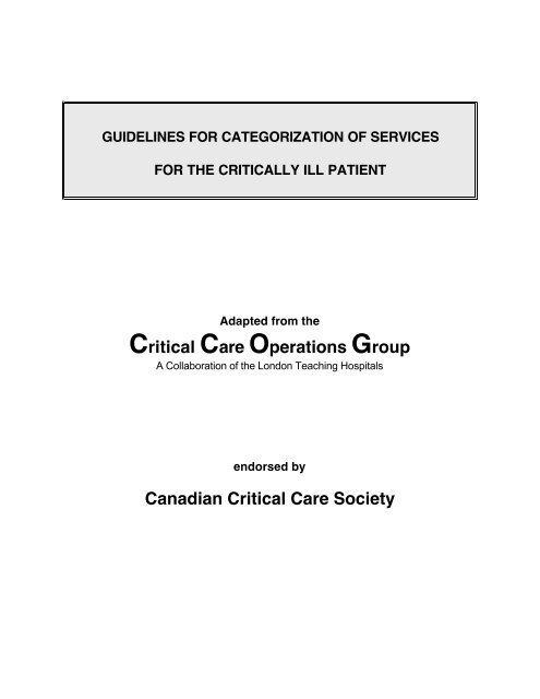 Guidelines for Categorization of Services for the Critically Ill Patient