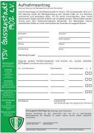Aufnahmeantrag - TSV Gussenstadt