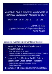 Issues on Port & Maritime Traffic Data in Technical Cooperation ...