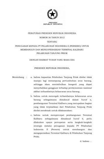 peraturan presiden republik indonesia nomor 36 tahun 2012 ...
