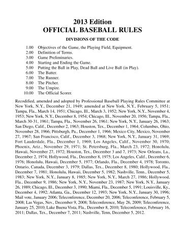 2013 Edition OFFICIAL BASEBALL RULES