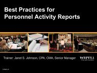 Personnel Activity Reports - CAPLAW