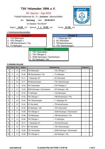 Spielplan C Junioren - TSV Holzmaden