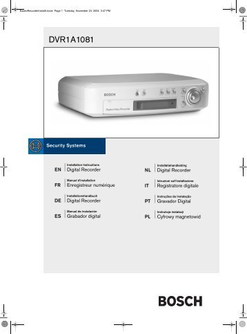 DVR1A1081 - Bosch Security Systems
