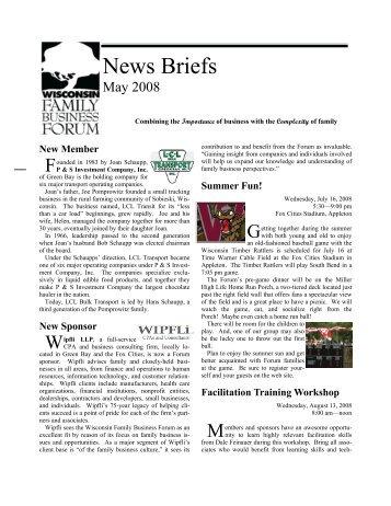 News Briefs - Wisconsin Family Business Forum - University of ...