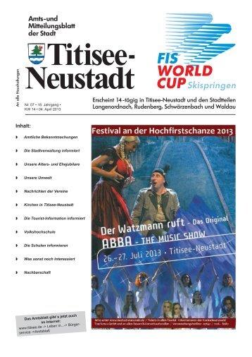 Amtsblatt Nr. 07 vom 04.04.2013 - Titisee-Neustadt