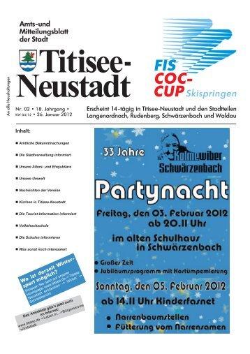 Amtsblatt Nr. 02 vom 26.01.2012 - Titisee-Neustadt