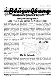 Musikverein Grünbach Aktuell 85 Jahre MV Grünbach