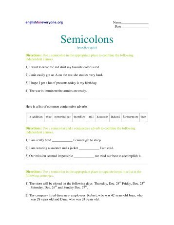 Semicolons Worksheet - English for Everyone