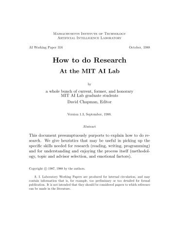 How to do Research - Computer Science