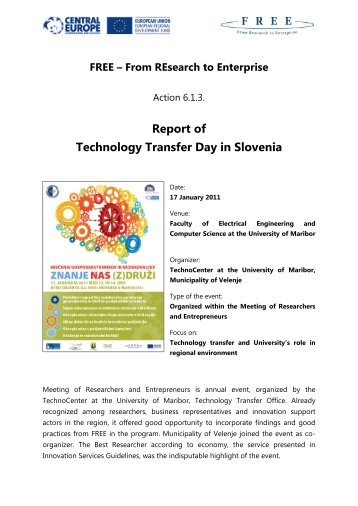 Report of Technology Transfer Day in Slovenia - FREE - From ...