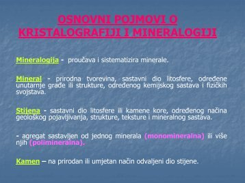osnovni pojmovi o kristalografiji i mineralogiji