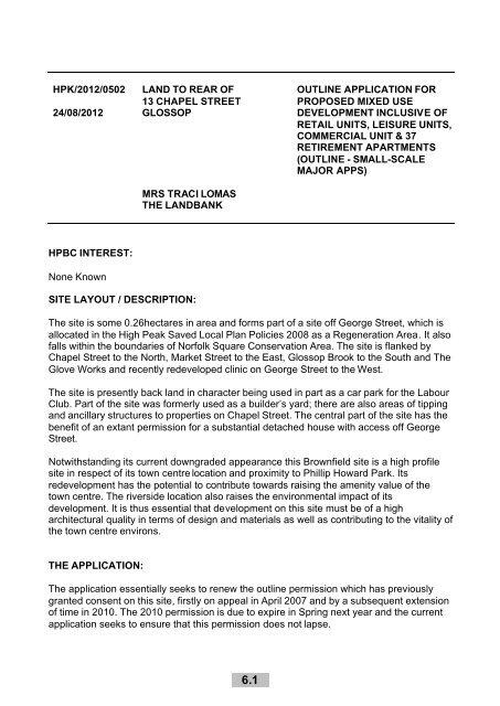 HPK/2012/0502 Land to rear of Chapel Street, Glossop - High